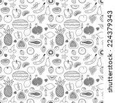 fruit hand drawn vector pattern | Shutterstock .eps vector #224379343