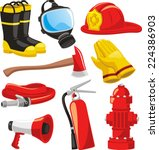 fire fighter elements set... | Shutterstock .eps vector #224386903