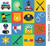 vector flat icons set of police ... | Shutterstock .eps vector #224393503