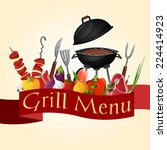 meat fish and vegetables bbq... | Shutterstock .eps vector #224414923