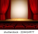 theater stage with red velvet... | Shutterstock .eps vector #224414977