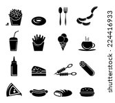 fast food icons black set of... | Shutterstock .eps vector #224416933