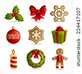 christmas holiday decoration... | Shutterstock .eps vector #224417107