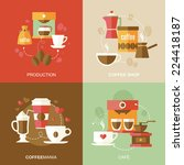coffee icons flat with... | Shutterstock .eps vector #224418187