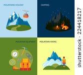 mountains camping icons flat... | Shutterstock .eps vector #224418217