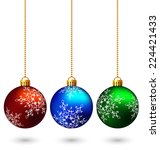 three multicolored christmas... | Shutterstock .eps vector #224421433