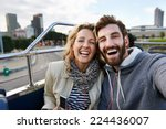 tourist couple travel selfie on ... | Shutterstock . vector #224436007