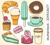 vector set of decorative sweet... | Shutterstock .eps vector #224513677