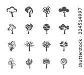 Abstract Tree Icon Set  Vector...