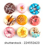 colorful delicious donuts... | Shutterstock . vector #224552623