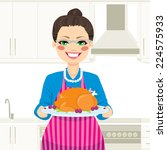 lovely senior woman cooking...   Shutterstock .eps vector #224575933