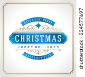christmas retro typography and... | Shutterstock .eps vector #224577697