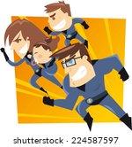 superhero family running to the ... | Shutterstock .eps vector #224587597