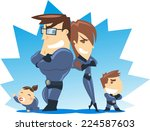successful superhero family... | Shutterstock .eps vector #224587603