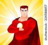 superhero standing proud with... | Shutterstock .eps vector #224588857