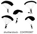 skydivers silhouettes collection | Shutterstock .eps vector #224590387