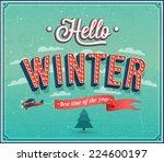 hello winter typographic design....   Shutterstock .eps vector #224600197