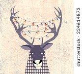 reindeer with string of... | Shutterstock .eps vector #224614873