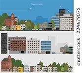 flat design urban landscape... | Shutterstock .eps vector #224679073