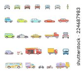 stylish retro car line icons... | Shutterstock .eps vector #224687983