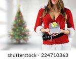 Sexy Santa Girl Holding Gift...
