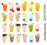 set of fruit juices  lemon tea... | Shutterstock . vector #224737333