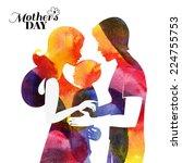 family. watercolor mother... | Shutterstock .eps vector #224755753
