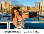 woman on summer vacation travel ... | Shutterstock . vector #224787457