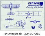 vintage airplanes drawing on... | Shutterstock .eps vector #224807287