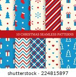 10 christmas different seamless ... | Shutterstock .eps vector #224815897