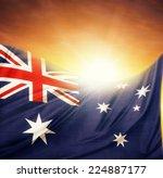 australian flag in front of... | Shutterstock . vector #224887177