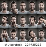 young man with multiple face... | Shutterstock . vector #224935213