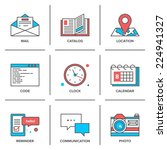 Flat Line Icons Set Of Office...