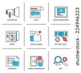 flat line icons set of digital...