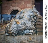 Small photo of NUREMBERG, GERMANY - SEPTEMBER 13, 2014: Hare sculpture - Tribute to Albrecht Durer, on September 13, 2014 in Nuremberg, Bayern Germany.