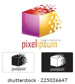 Cube pixel style logo , abstract concept