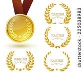 gold medal and laurel weaths...   Shutterstock .eps vector #225038983