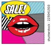 pop art lips   sale | Shutterstock .eps vector #225041503