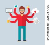 multitasking character ...   Shutterstock .eps vector #225057703