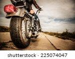 biker girl riding on a... | Shutterstock . vector #225074047