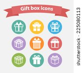 vector set of white gift box... | Shutterstock .eps vector #225080113
