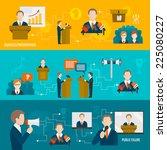 public speaking banner set of... | Shutterstock .eps vector #225080227