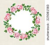 rose flower wreath. floral... | Shutterstock . vector #225081583