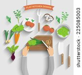 chef cooking veg food   vector... | Shutterstock .eps vector #225085003