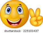 smiley emoticon with v sign | Shutterstock .eps vector #225101437