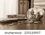 saving word on rubber stamps... | Shutterstock . vector #225133957