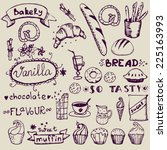 set of hand drawn confectionery ... | Shutterstock .eps vector #225163993