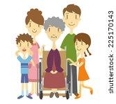 an elderly woman in wheelchair... | Shutterstock .eps vector #225170143
