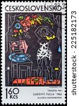 Small photo of CZECHOSLOVAKIA - CIRCA 1972: A stamp printed by CZECHOSLOVAKIA shows picture Dressing by Slovak painter, graphic artist, illustrator, designer and art teacher Ludovit Fulla, circa 1972
