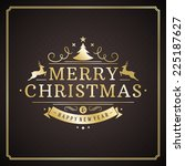 christmas retro typography and... | Shutterstock .eps vector #225187627